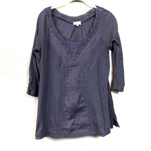 Anthropologie Meadow Rue black V-neck lace top m